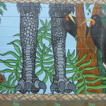 Mural in Opononi With Moa Bird legs