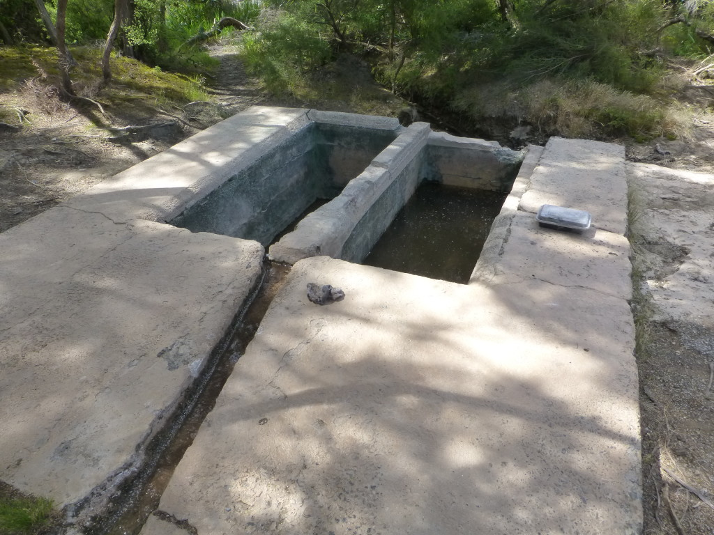 Cement Troughs with Hot Spring Diversion Channel
