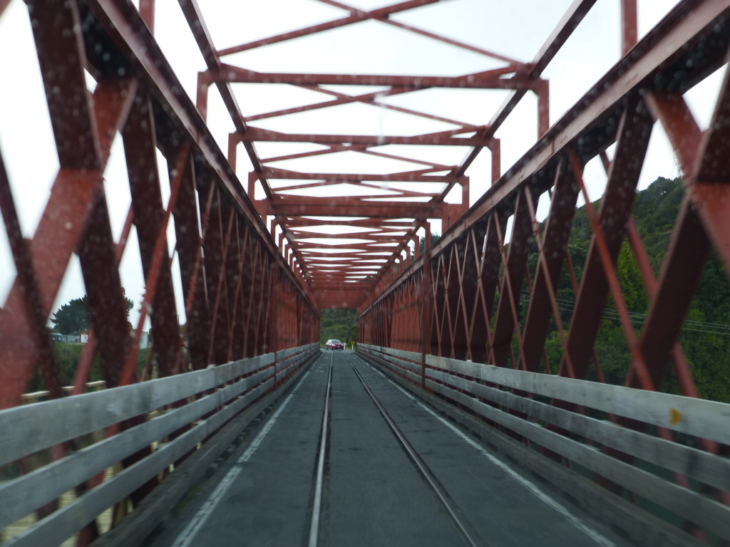 Pretty Red Steel One Lane Bridge