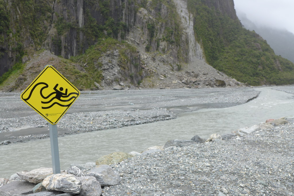 Warning Sign at Fox Glacier