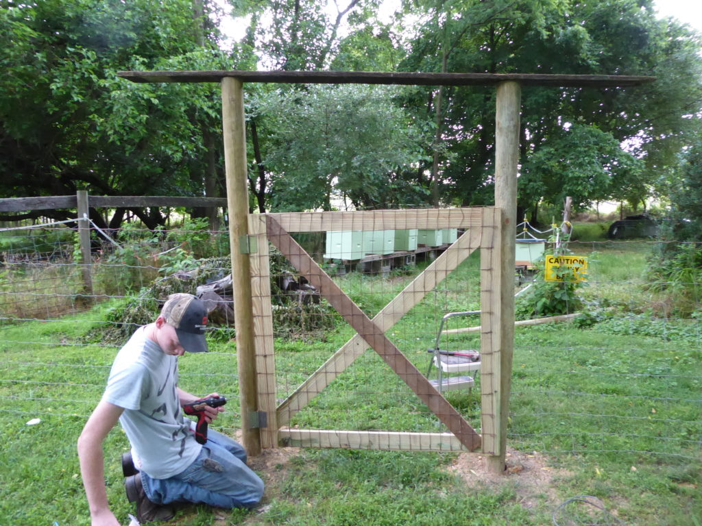 Hanging the Bee Yard Gate